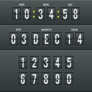 Airport characters and numbers in vector calendar clock