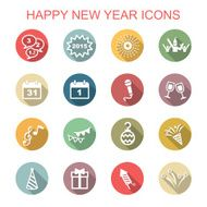 happy new year long shadow icons