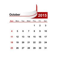 Vector simple calendar 2015 year october month