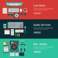 Disc Jockey Flat Design Web Banners Icon Sets
