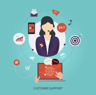 Business customer care service concept flat icons Feedback