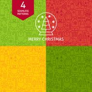 Thin Line Merry Christmas Holiday Patterns Set