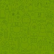 Line Art Holiday Christmas Green Seamless Pattern