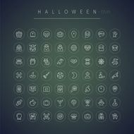 Halloween Thin Rounded Icons Set