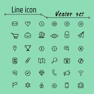 Line icon vector set