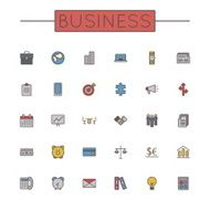 Vector Colored Business Line Icons