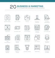 Set of Modern Line Business & Marketing Icons Design