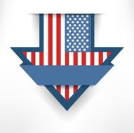 Holiday arrow american flag label hanging on the wall