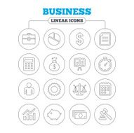 Business line icons Money chart and document N3