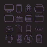 line craft icons for business with computer theme N5