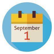 Flat Back to School September Calendar Circle Icon with Shadow