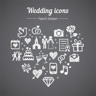 Hand drawn vector set wedding icons marriage rings couple love