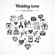 Hand drawn vector set wedding icons marriage rings couple love N2