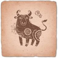 Ox Chinese Zodiac Sign Horoscope Vintage Card