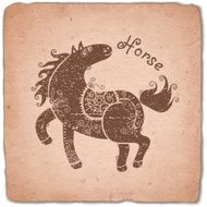 Horse Chinese Zodiac Sign Horoscope Vintage Card