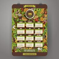 Doodles cartoon Fast food Calendar 2016 year design