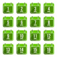 April vector flat calendar icons Days Of Year Set 13
