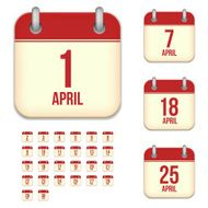 April days Vector calendar icons