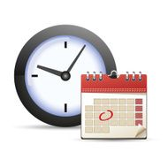 Calendar with one day marked and clock icon N2