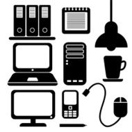 office icons black vector silhouettes