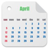Calendar for the month of April vector illustration