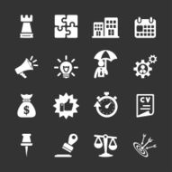 business concept icon set white version vector eps10