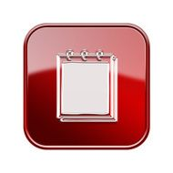 Notebook icon glossy red isolated on white background