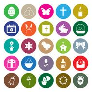 Easter icons set circle vector illustration