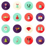 Christmas Circle Flat Icons Set 2