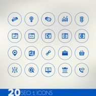 Thin simple SEO 1 blue icons on light background
