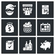 Corporate New Year vector icons set