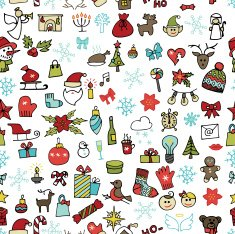 Christmas new year icons seamless pattern Colored Doodle