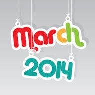 March 2014 Paper Hanging Sign -eps10 vector