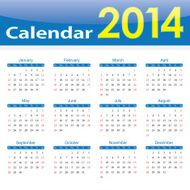 calendar 2014 popular template on isolated background N2