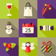 Green brown and purple nine Christmas Flat Icons Set