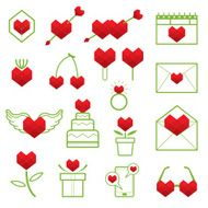 Line Icons Set Love Heart Polygon Style