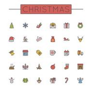 Vector Colored Christmas Line Icons