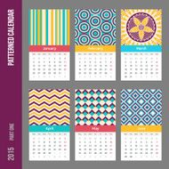 European 2015 year vector calendar N6