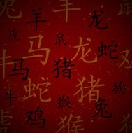 Chinese red maroon oriental background with zodiac signs vector