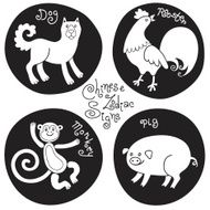 Black and white set signs of the Chinese zodiac N2
