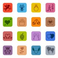 Colorful Valentine's Day Icon Set