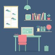 Flat Design Workplace Vector Illustration N3