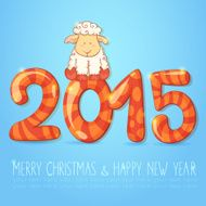 Winter chinese new year card with cartoon sheep N2