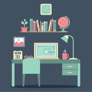 Flat Design Workplace Vector Illustration N4