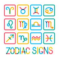 Zodiac signs Modern color icons