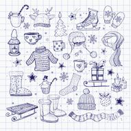 Set of hand-drawn sketchy christmas elements N16