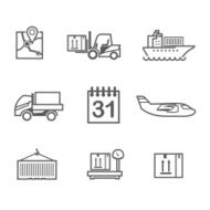 Logistics line icons set