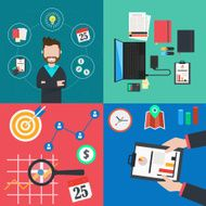 Collection of colorful business and finance concept icons