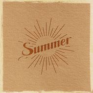 handwritten Summer retro label with light rays