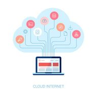 Internet coud services and database analytics flat icons illustration